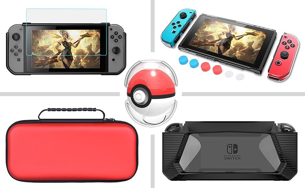 HEYSTOP Accesorios para Nintendo Switch, Funda Nintendo Switch, Estuche Switch Carcasa, Protector de Pantalla, Funda de TPU, Thumb Grips, Poke Ball Plus Case: Amazon.es: Electrónica