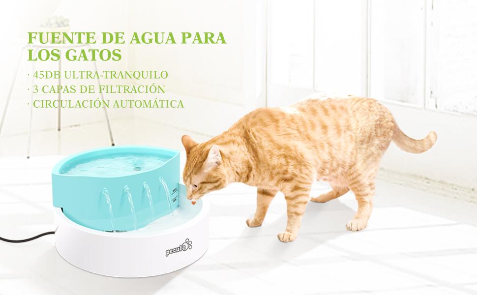Pecute Fuente de Agua para Gatos y Perros Automático Dispensador ABS 5V,con 3 Modos Filtros de Carbón, Bebederos ...