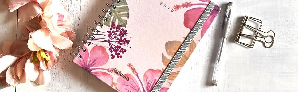 Agenda De Tela 2019 - Takenote Hibiscus- Encuadernación Wire-o - Semana Vista - Tamaño 16,5x21,5
