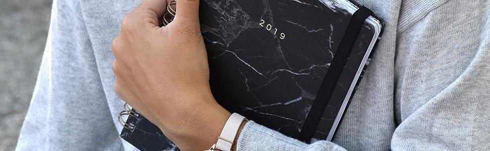 Agenda 2019 - Takenote Marmol Negro - Encuadernación Wire-o - Semana Vista - Tamaño 16,5x21,5
