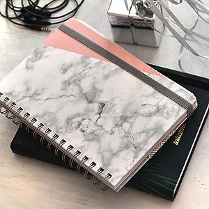 Agenda 2019 - Takenote Marmol Rosa- Encuadernación Wire-o - Semana Vista - Tamaño 16,5x21,5