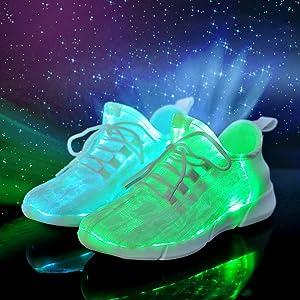 Yeeper LED Zapatillas Texitil de Fibra Óptica de 7 Colores de ...