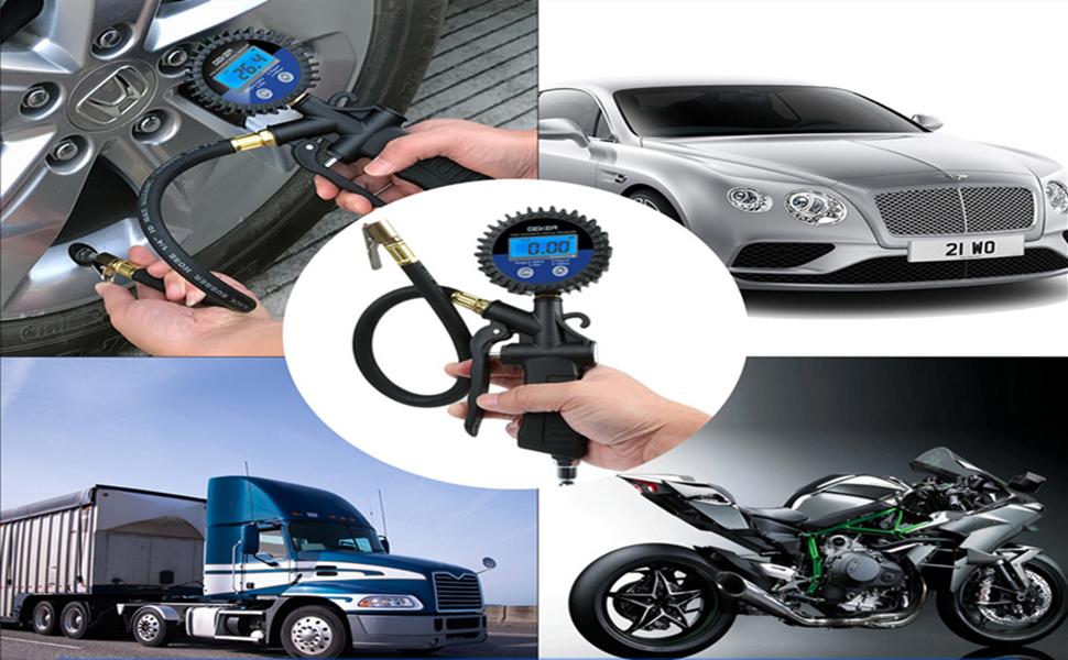 GEKER Manometro Presión Neumáticos 150 PSI Manómetro Digital con Pantalla LCD para Vehículos Motocicleta Bicicleta y Coche etc