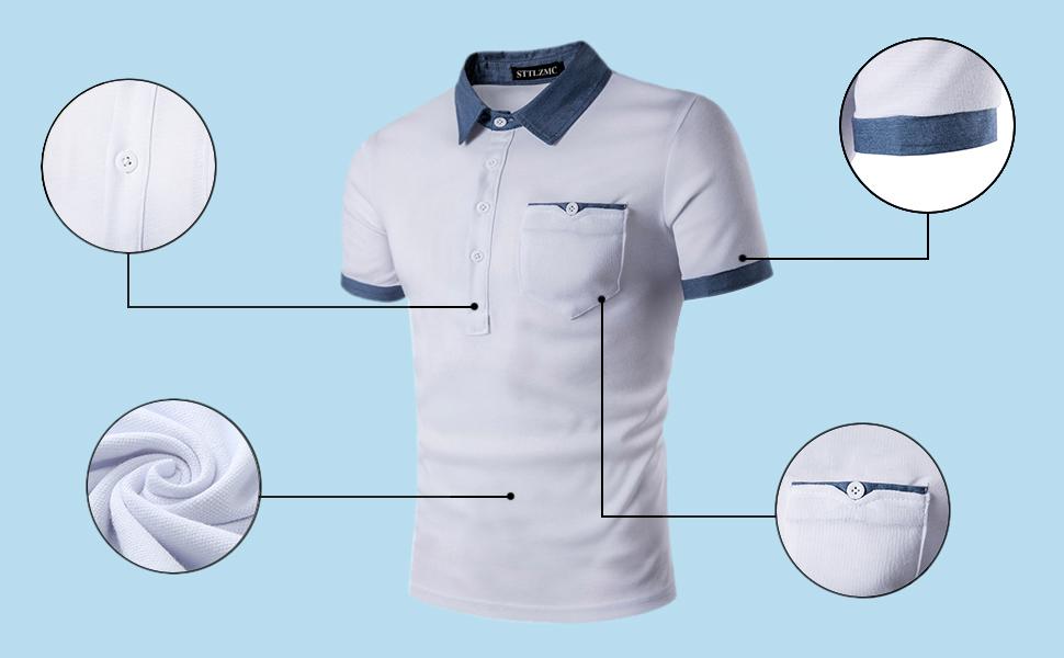 STTLZMC Polo para Hombre Manga Corta Moda Fitness Camisas Casual ...