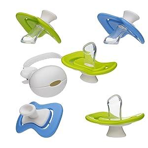 iiamo Combo 5 X Chupetes de Ortodoncia Peace + iiamo String Cadena de Chupete Silicona Sin BPA Recién Nacido, (0-6m) Azul