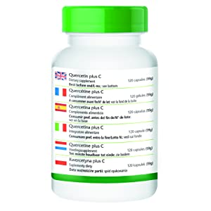 Dos cápsulas de Quercitina plus C contienen / VRN*% : Vitamina C 600mg / 750% Quercetina 500mg