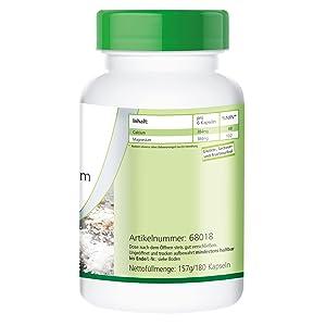 Seis cápsulas de citrato de calcio-magnesio contienen / VRN*: Calcio 384mg / 48% Magnesio 384mg / 102%