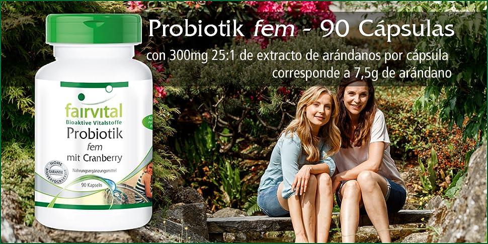 Probiotik fem de Fairvital con arándanos – 90 cápsulas - DRcaps® con liberación lenta –cuidado genital femenino - sustancia pura - ¡Calidad Alemana ...