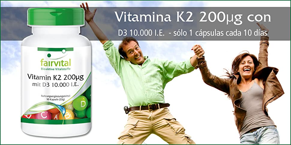 Vitamina K2 200µg con D3 10000 U.I. ☆ 90 Cápsulas ☆ Fairvital