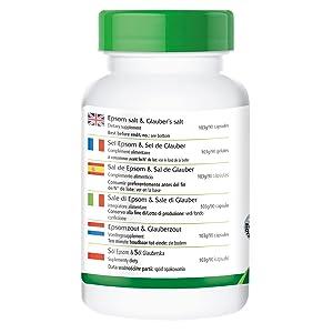 Seis cápsulas de Sal de Epsom & Sal de Glauber contienen / %VRN*: Magnesio 265mg / 71% Sodio 430mg