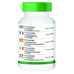 Vitamina B12 750μg / 30000% Niacina 75mg / 469% Ácido fólico 750μg / 375% Biotina 750μg / 1500% Ácido Pantoténico 75mg / 1250% Inositol 75mg