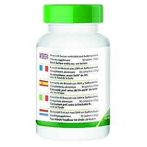 Tres pastillas contienen: Extracto de brócoli 450mg de los cuales sulforafano 1,35mg. DIM (diindolilmetano) 300mg