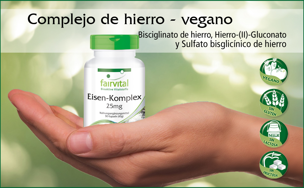 Hierro Complex 25mg - A VEGANO - Altamente dosificado - 90 Cápsulas ...