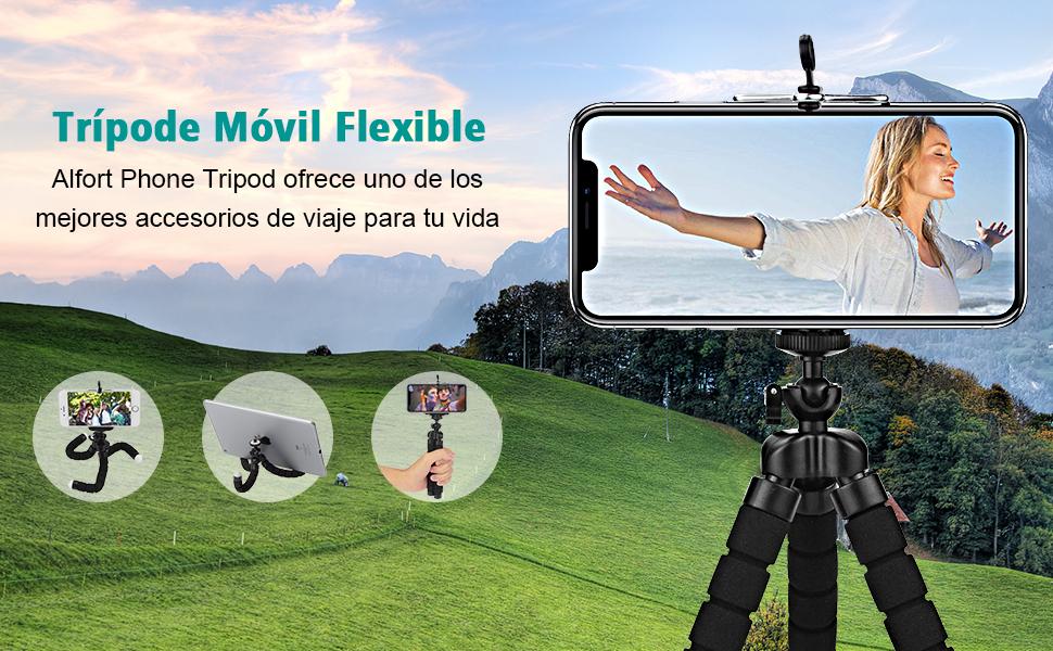 Trípode Móvil Flexible 360°Rotación Teléfonos con Control Remoto