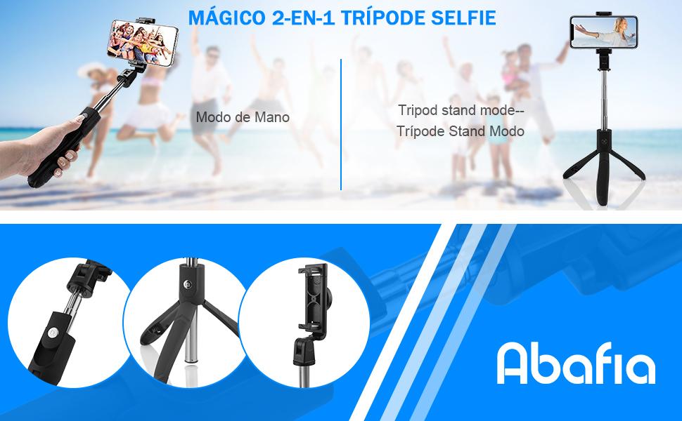 Abafia Palo Selfie Trípode, 3 en 1 Selfie Stick Bluetooth Extensible Rotación de 360 ° con Control Remoto para iPhone XS/X / 8 / Samsung S9 / S8 / ...
