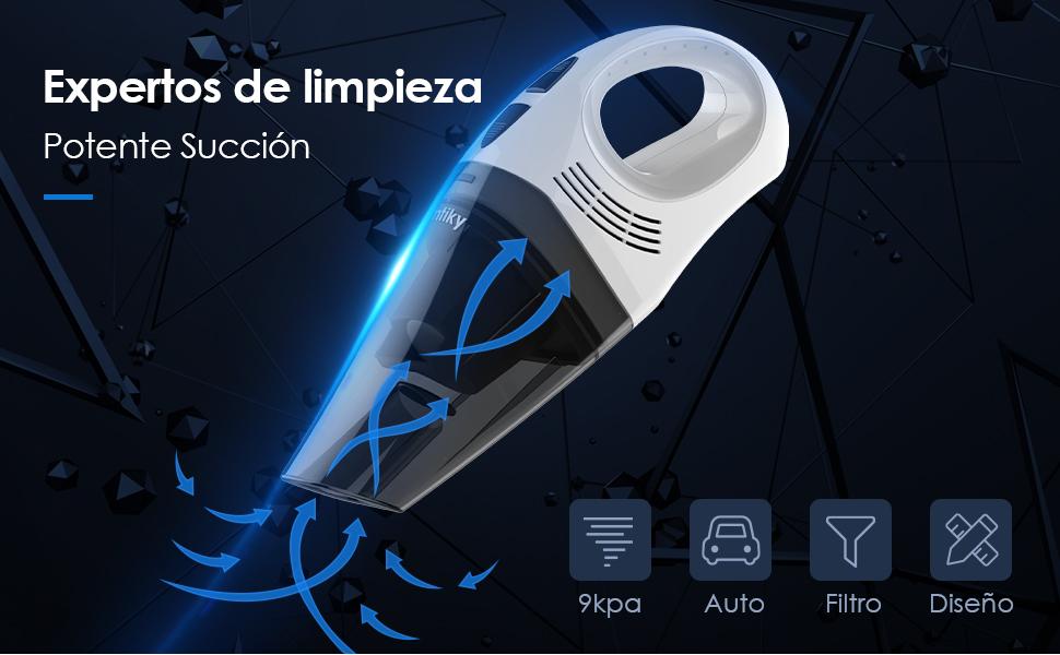 Homtiky Aspiradora de Mano Sin Cable, 9000Pa 2600mAh 100W 30 Min Aspirador de Mano Coche Potente con flitro HEPA de Metal Permanente de Motor Potente para Mascotas, automóvil, la casa y Exteriores: