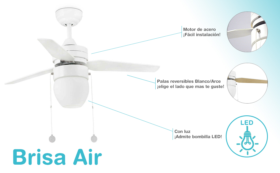 Brisa Air BRI1002 - Ventilador de techo con luz, blanco: Amazon.es ...