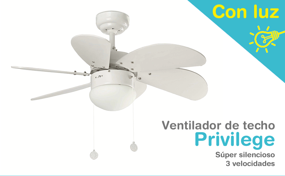 Ventilador de Techo Privilege con luz Blanco: Amazon.es: Hogar