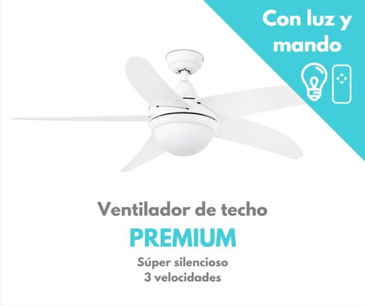 Ventilador de techo con luz blanco PREMIUM: Amazon.es: Hogar