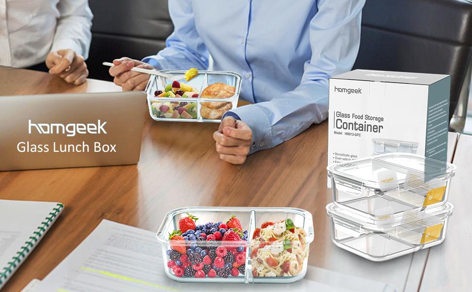 homgeek Contenedores de Alimentos con 2 Compartimiento, Caja de ...