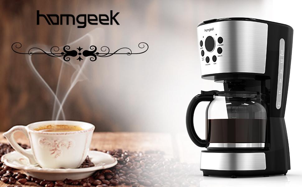 Homgeek Cafetera 12 Tazas, Café Maker con Apagado Automático, Placa Calentadora, Filtro Cafeteras con Temporizador, Jarra de Cristal, Filtro ...