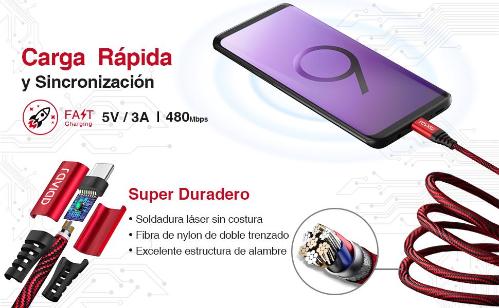 Cable USB Tipo C Sincronización para Samsung Galaxy S9 / S8 +/ Nota 8 cargador