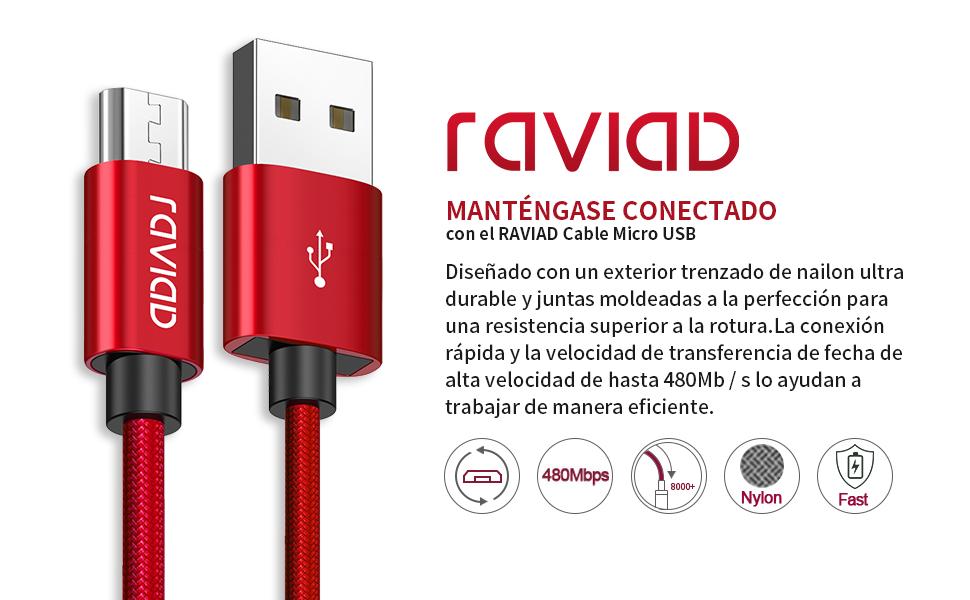 RAVIAD Cable Micro USB, [3Pack, 1M] Cargador Android USB Cable Trenzado de Nylon Carga Rápida y Sincronización para Samsung Galaxy S7/ S6/ Note 5, ...