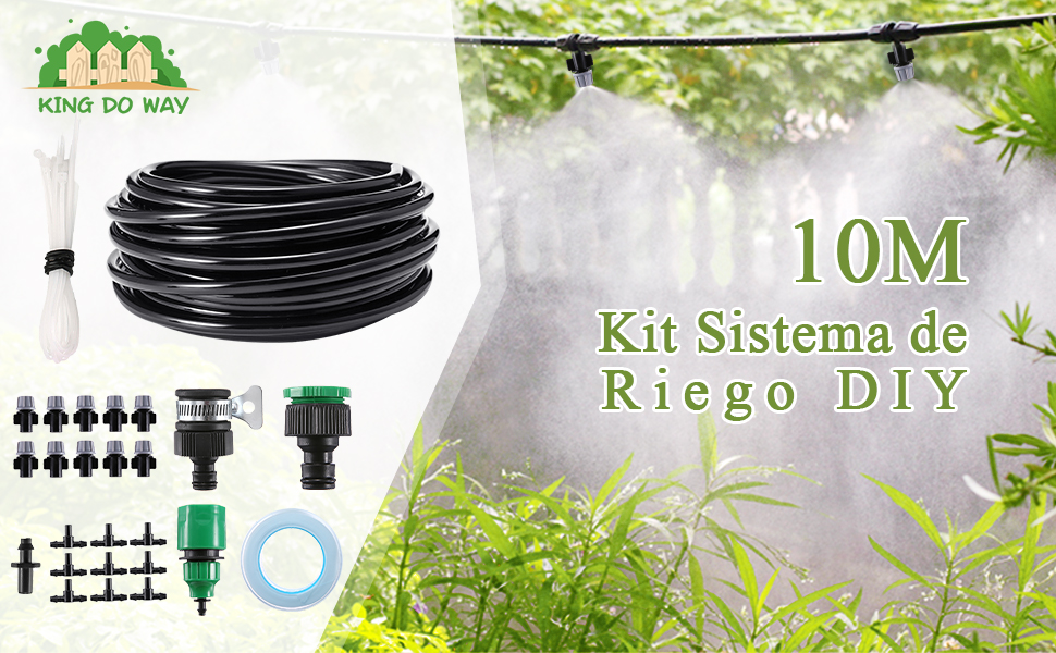 KING DO WAY 10M Kit Riego Automatico, Conjuntos de Riego Ajustable ...