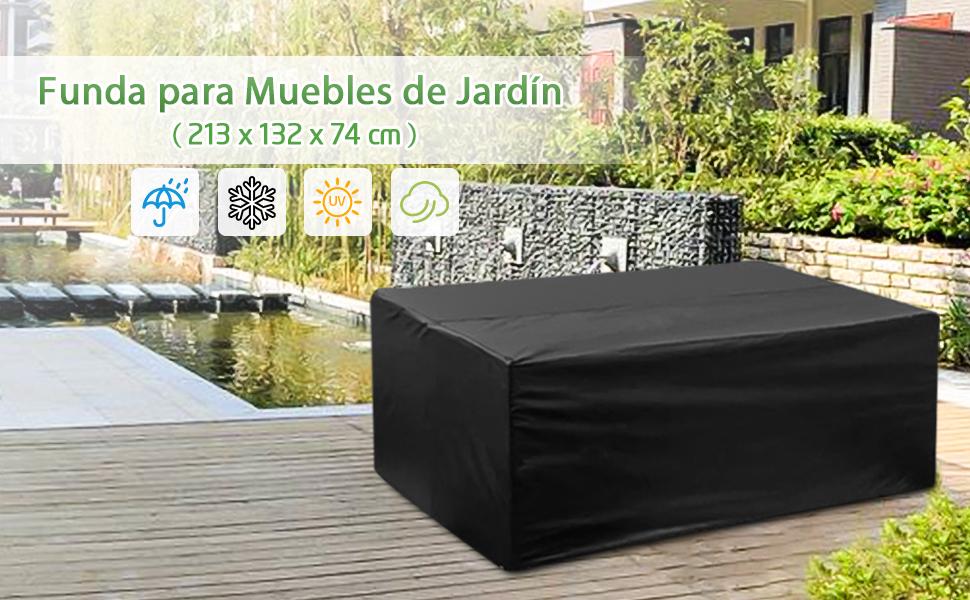 king do way Fundas Muebles Jardin 213x 132x74cm, Funda para Mesa y Silla para Sofa de Jardin, al Aire Libre, Patio, Plazas Funda para Sofa de Esquina, ...