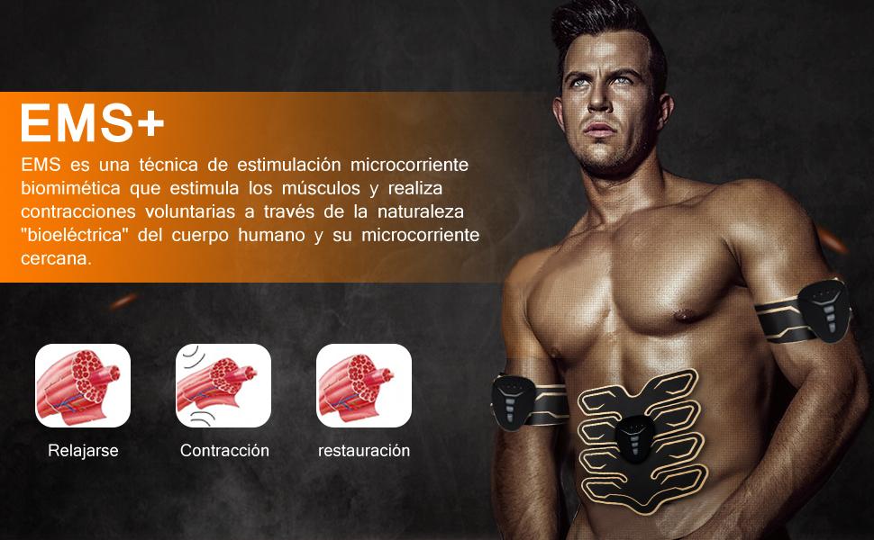 Electroestimulador Muscular Abdominales, Eléctrico Muscular Entrenador, EMS Trainer