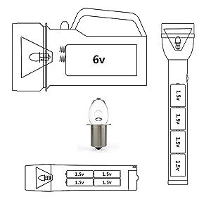 Ajuste todos los productos de iluminación estándar 6V de 4D, como linterna, luz de trabajo, etc. Produzca 4.8 voltios a 0.75 amperios.