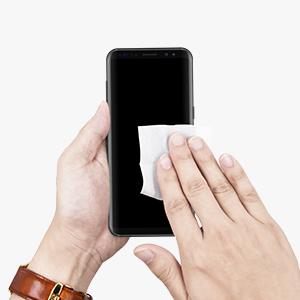 dda26bc3d21 Apague su móvil y retire cualquier accesorio (funda, protector de pantalla,  etc.). Limpie a fondo su pantalla. Comience con ...