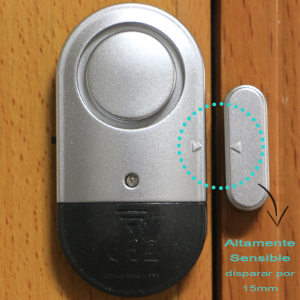 SYCOTEK Alarma Puertas y Ventanas, Sistema de Alarma con Sensor de Movimiento, Sirena de 120dBs con Almohadilla Reductora del Sonido, Negro y Plata