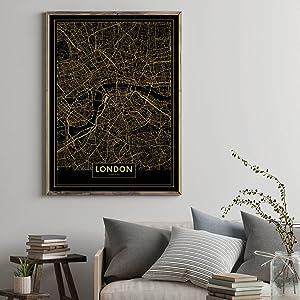 Panorama® Cuadro de Aluminio Mapa Oro de Londres 35 x 50 cm ...