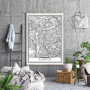 Cuadros decorativos baratos modernos, cuadros de mapas de ciudades. Póster, dibond, lienzo