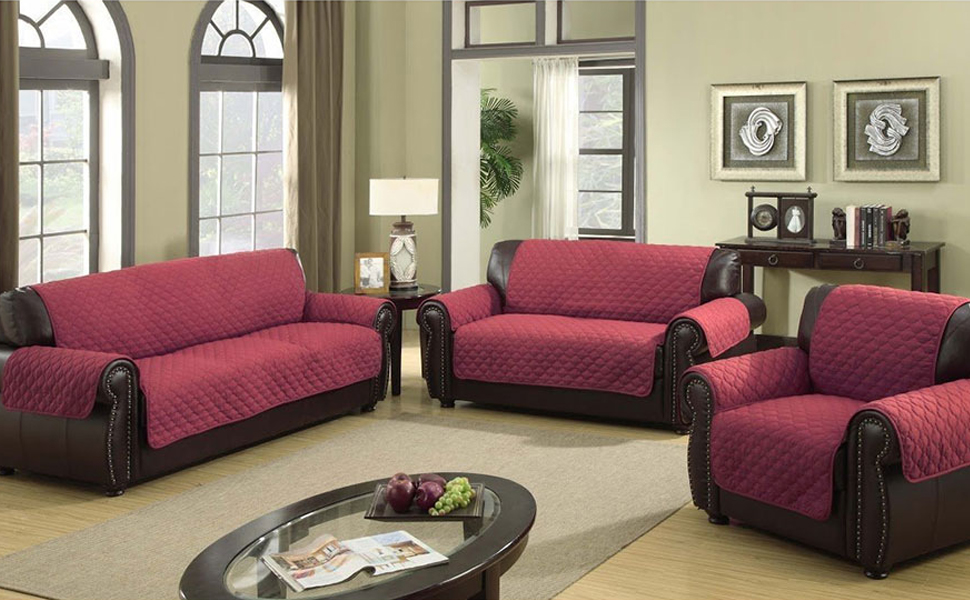 Umiwe Funda Sofa 3 Plazas Cubre Sofas 2 Plazas Funda Sillon Sofa Saver elasticas para Perro en Negro Borgona Marron Azul