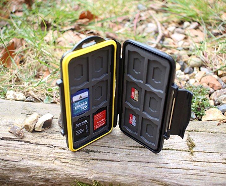 Deyard Resistente Impermeable Estuche para Tarjetas de 12 x Memoria SD + 12 x MicroSD (Negro)