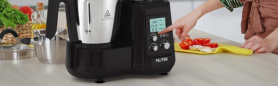 Robot de Cocina, Batidora, Soup Maker Multifuncional MLITER, Picadora Vaporera Acero Inoxidable, Báscula Digital, con Pantalla LCD 5 Velocidades Temporizador y Ajuste de Temperatura, 800W, Negro: Amazon.es: Hogar