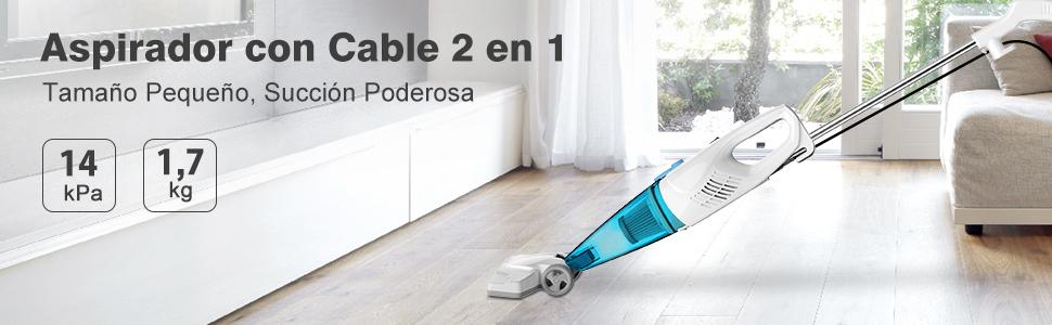 MLITER Aspirador Escoba con Cable 2 en 1, Aspiradora