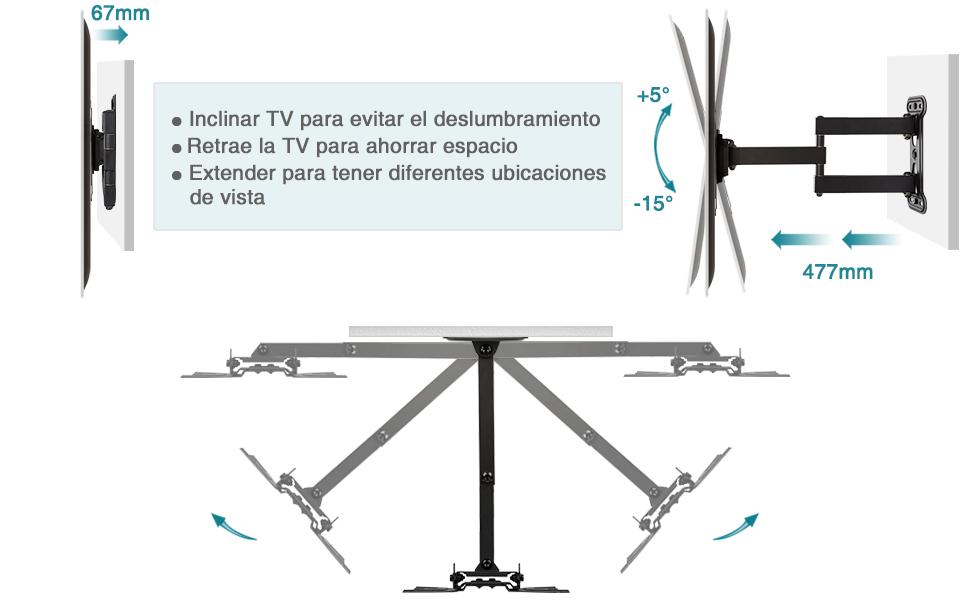 Giratorio Inclinable Mounting Dream Soporte de Pared TV Giratorio Inclinable