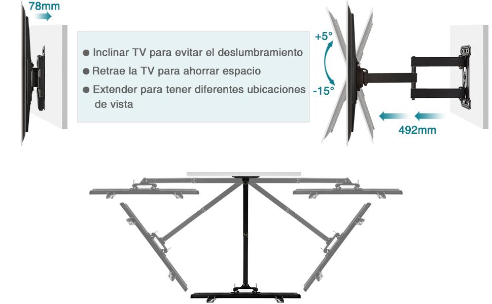 Soporte de Pared TV Giratorio e Inclinable