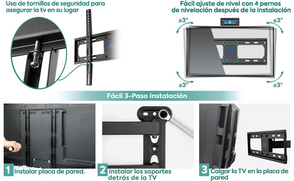 Soporte TV 26 55 32 Mounting Dream Soporte de Pared TV Giratorio y Inclinable VESA 400x400mm MD2377