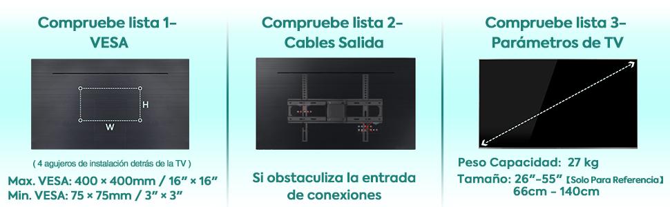 Soporte TV Soporte de Pared TV VESA 400x400mm Mounting Dream Giratorio y Inclinable 26–55 MD2377-02