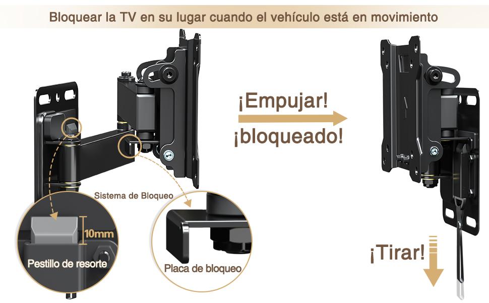 Caravana/Remolque/Barco Soporte de Pared TV Giratorio Inclinable Bloqueable para Mounting Dream