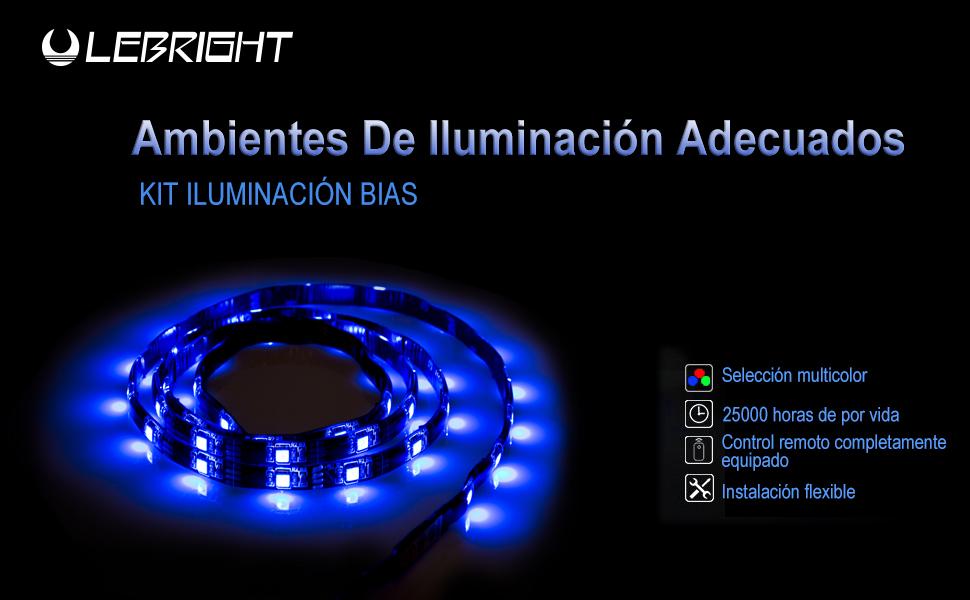 LEBRIGHT USB LED TV Backlight tira, 100cm (39inch) 5V USB Powered Bias iluminación para HDTV, impermeable RGB LED tira de luz para HDTV y monitor de PC: Amazon.es: Instrumentos musicales
