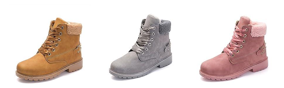 948266140 Botines para mujer Zapatos de piel con forro de piel para damas Bota de  combate Invierno