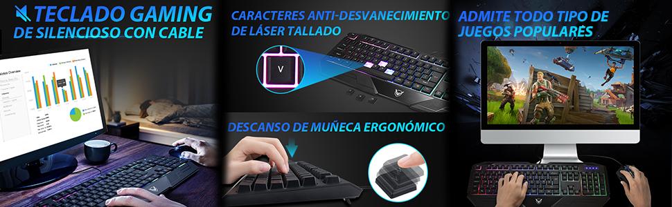 PICTEK Teclado Gaming Español USB Rainbow LED Retroiluminado con Ergonómico y Gran Durabilidad, Resistente a Derrames, Teclado con sensación mecánica