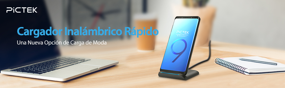 Cargador Inalámbrico Rápido,【2019 Actualizado】Pictek 2 Bobina Cargador Inalámbrico 10W Nuevo Diseño de Moda Anti-slip para Samsung Galaxy ...