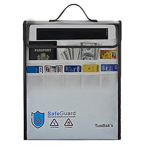 Bolsa Ignifuga Impermeable | Bolsas Ignifugas Documentos | Bolsa Ignifuga Dinero de Silicona Mejorada con Gel de Sílice Desecante 30g(40 x 32 x 8 cm)