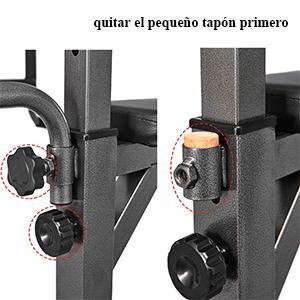 La madera protege el orificio que inserta la barra amortiguadora de vuelta, por favor sáquela antes de la instalación.